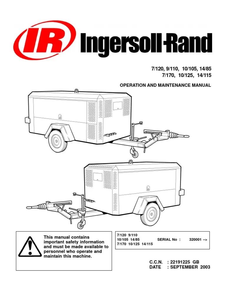 medium resolution of ingersoll rand portable diesel compressor operation manual valve trailer vehicle
