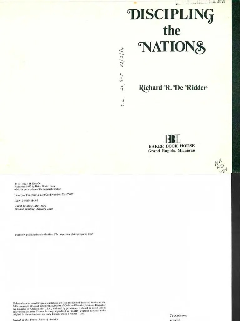 Discipling The Nations De Ridder Jesus Jews