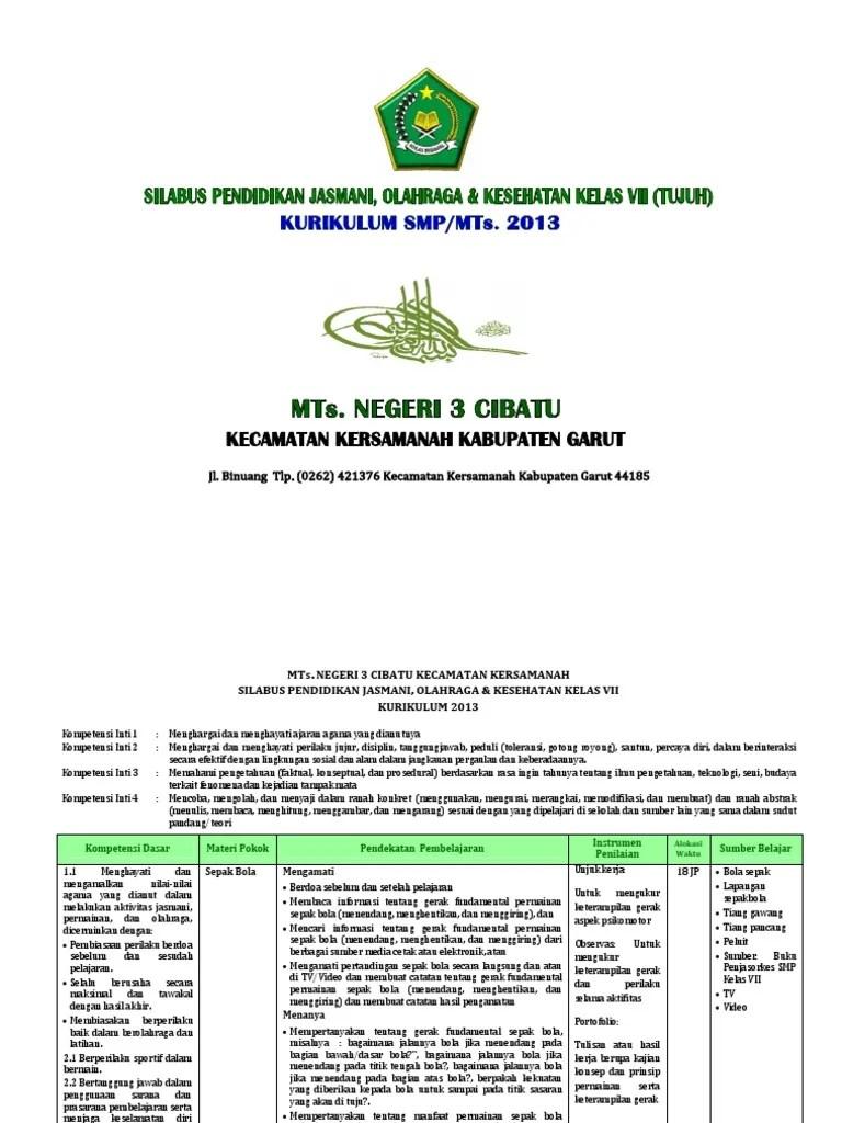 Perangkat Pembelajaran Kelas 7, 8, 9 SMP/MTs Kurikulum 2013...