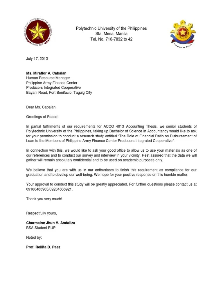 Request Letter To Conduct Research Business Science General