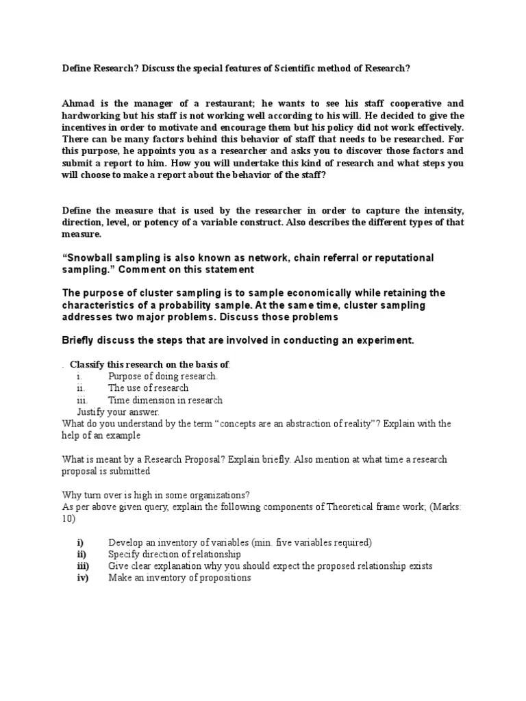 Sta630 Research Methods Short Questions Vuabid Sampling
