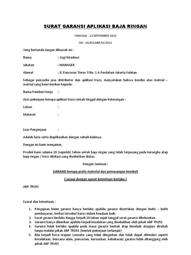 Surat Garansi Produk : surat, garansi, produk, Surat, Garansi, Aplikasi, Ringan