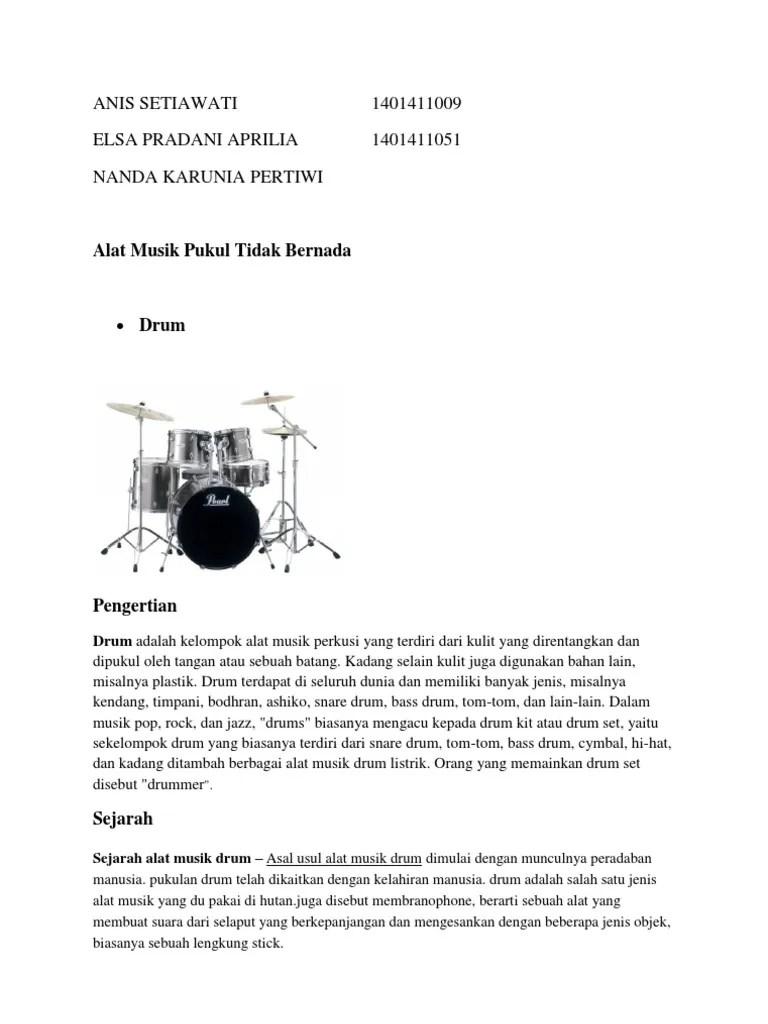 Alat Musik Yang Tidak Bernada Disebut : musik, tidak, bernada, disebut, Musik, Pukul, Bernada