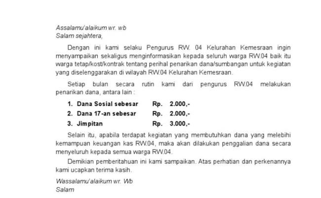 Contoh Surat Edaran Rt Ke Warga Contoh Seputar Surat Cute766
