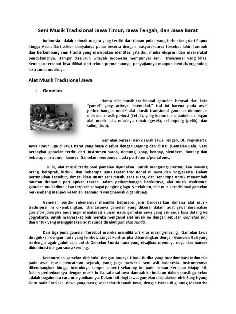 Seni Pertunjukan Tradisional Jawa Tengah : pertunjukan, tradisional, tengah, Musik, Tradisional, Tengah