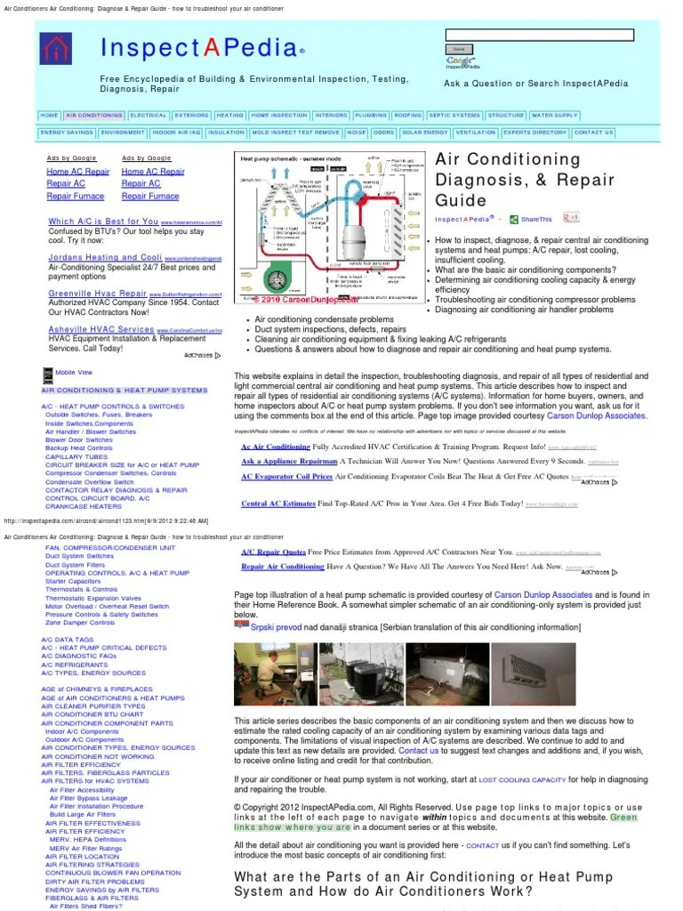 hight resolution of  array air conditioner guide to troubleshooting and repair air rh scribd com