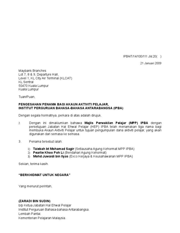 Contoh Surat Rasmi Permohonan Membuka Akaun Bank Rasmi H Cute766