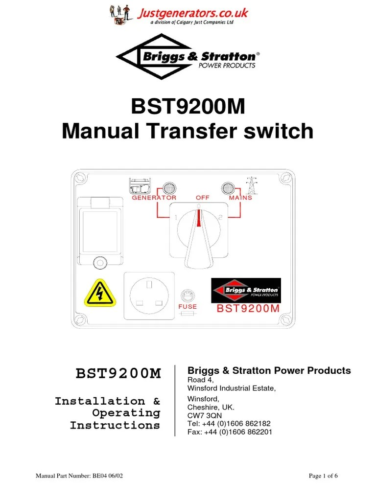 medium resolution of bst9200 m owners manual mains electricity electrical connector switch wiring diagram on wiring diagram for transfer switch bst9200m