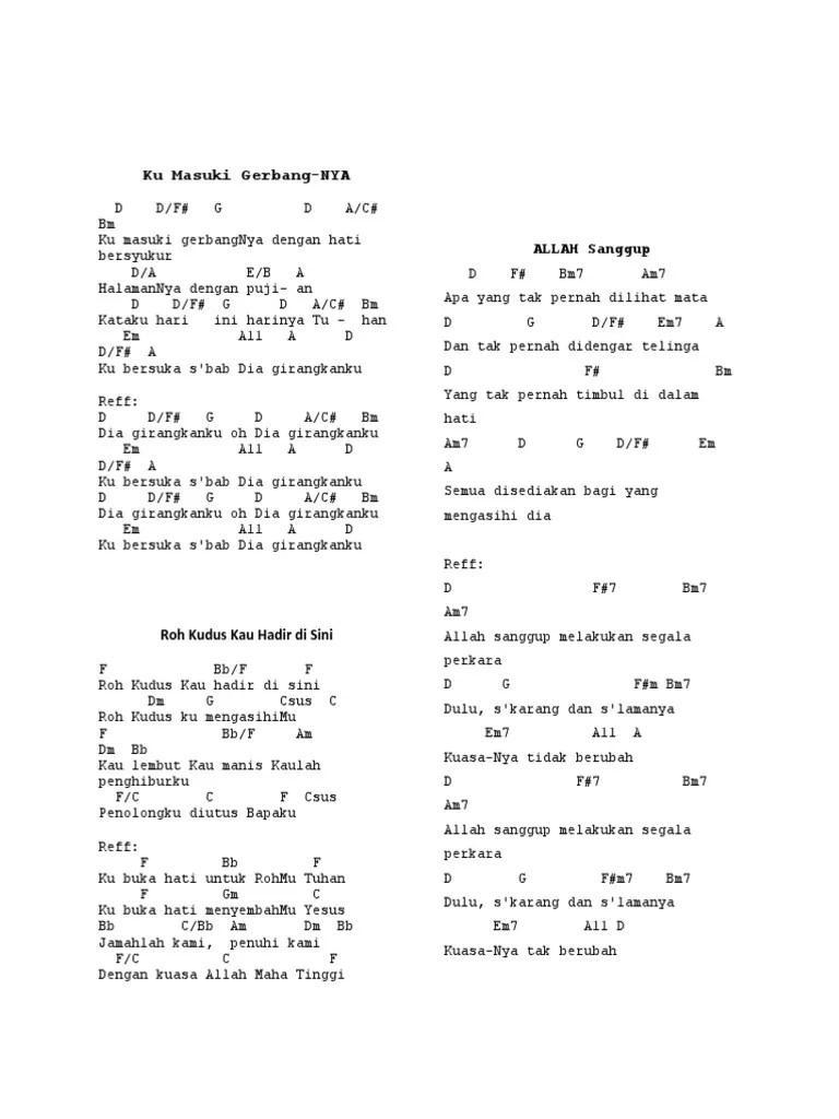 Lirik Kumasuki Gerbangnya : lirik, kumasuki, gerbangnya, Ibadah, Berserta, Kunci, Gitar