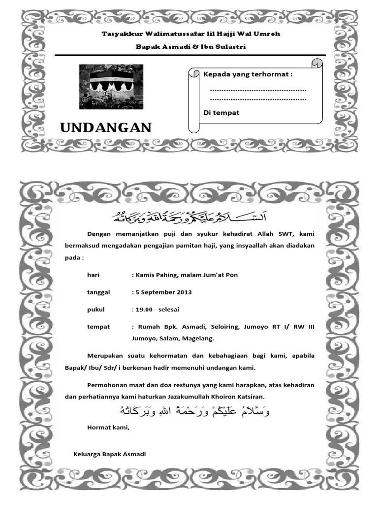 Contoh Undangan Walimatul Umroh : contoh, undangan, walimatul, umroh, Contoh, Undangan, Umrah