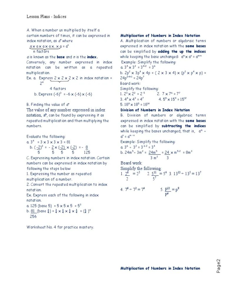 small resolution of Lesson Plan -Indices.doc   Multiplication   Exponentiation