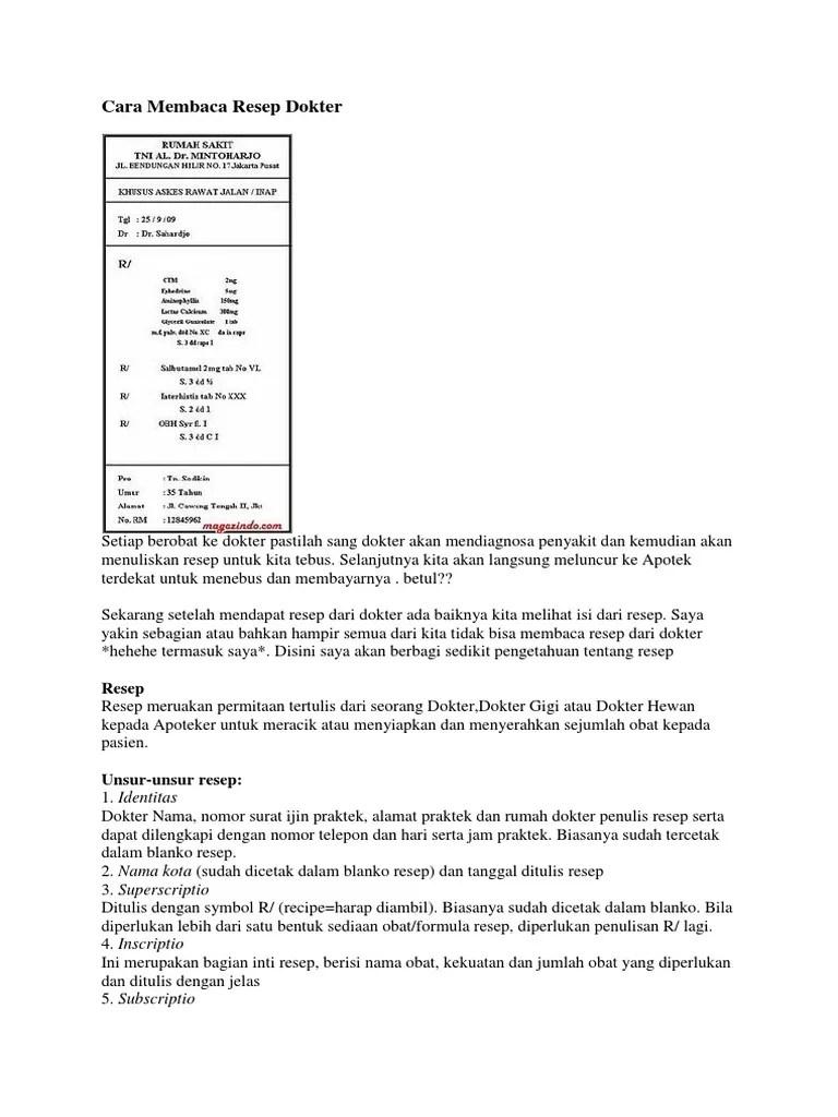 Cara Membaca Resep Dokter Docx