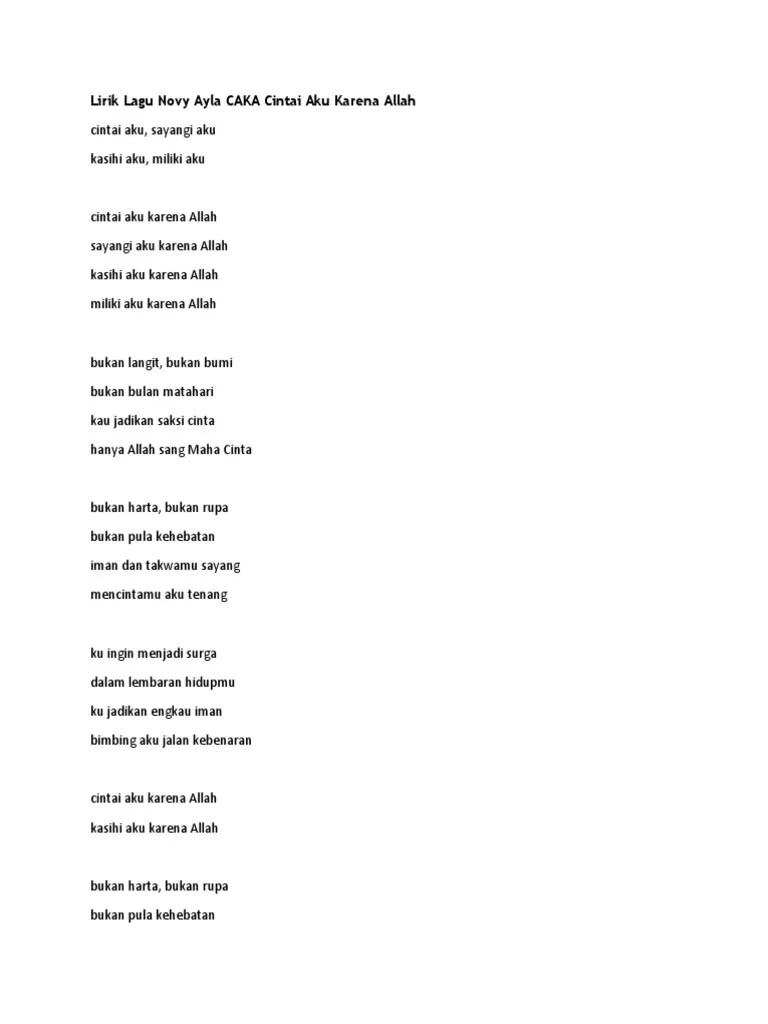 Lirik Lagu Cintai Aku Karena Allah : lirik, cintai, karena, allah, Lirik, Cintai, Karena, Allah