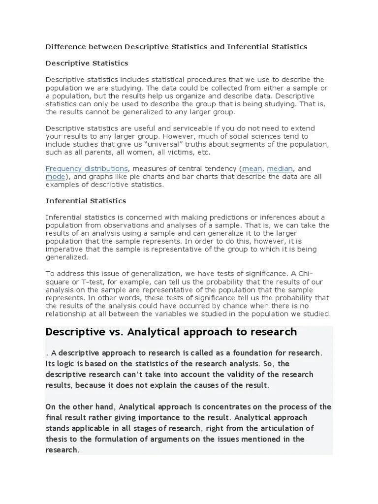 Descriptive Statistics And Inferential Statistics Docx Descriptive