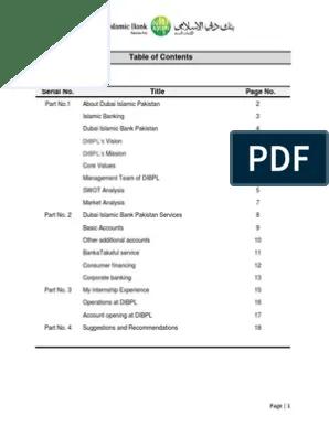 Dubai Islamic Bank Pakistan Internship Report Docx Islamic Banking And Finance Banks