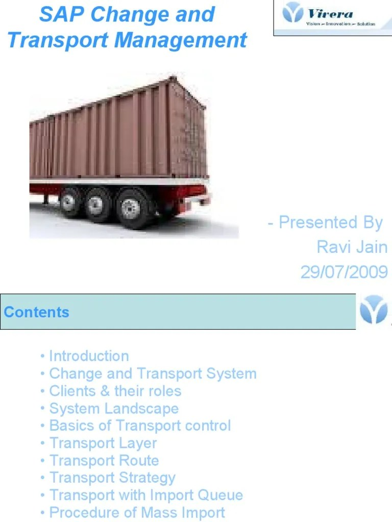 hight resolution of sap change and transport management software areas of computer science
