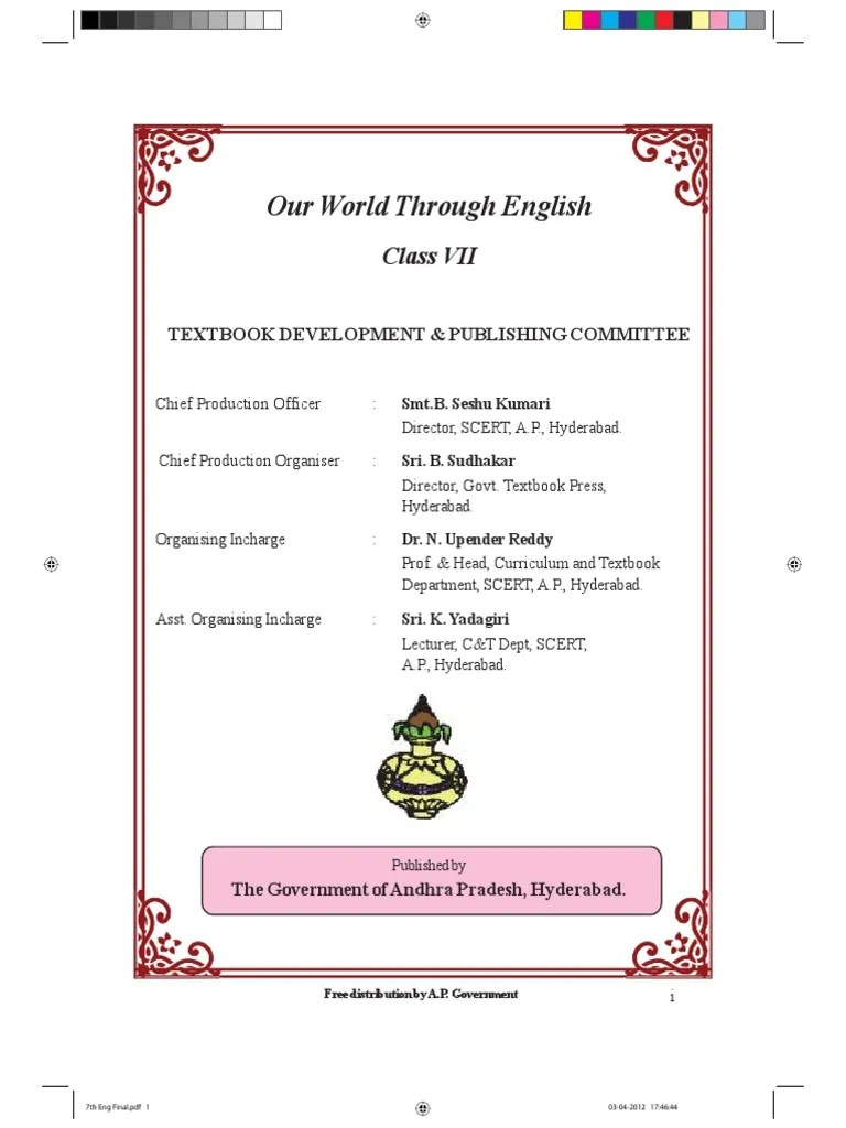 Class 7 English Text Book AP Syllabus Adjective Languages