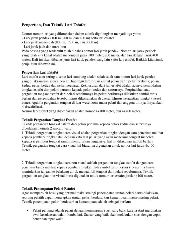 Estafet - Wikipedia bahasa Indonesia, ensiklopedia bebas