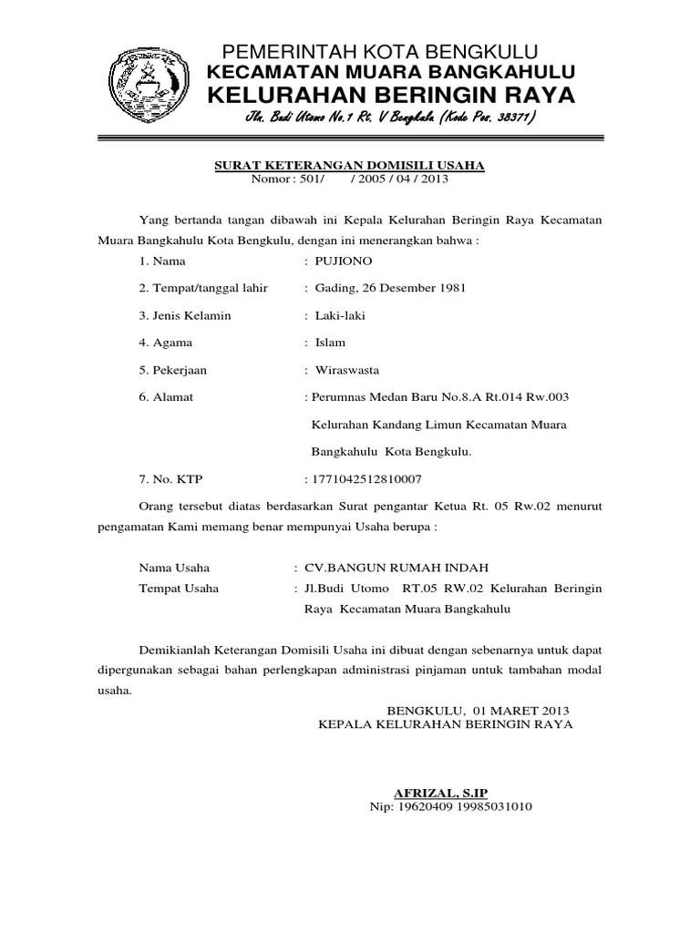 Contoh Surat Keterangan Domisili Lembaga Dari Desa Cute766
