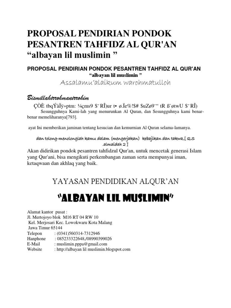 Proposal Pendirian Pondok Pesantren Tahfidz Al Qur