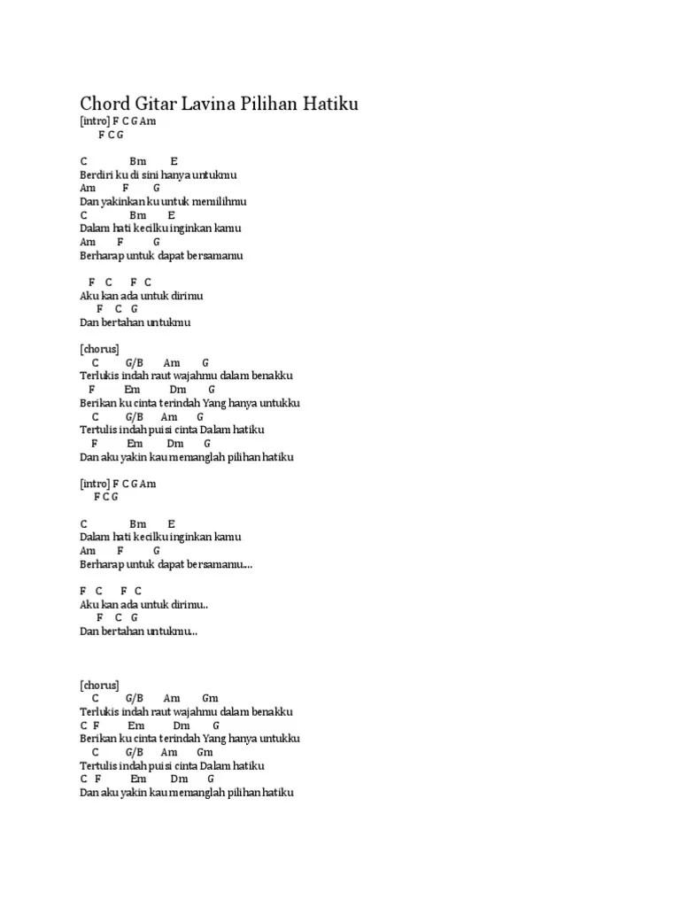 Lirik Lagu Tertulis Indah Puisi Cinta Dalam Hatiku : lirik, tertulis, indah, puisi, cinta, dalam, hatiku, Lavina, Pilihan, Hatiku, Chord