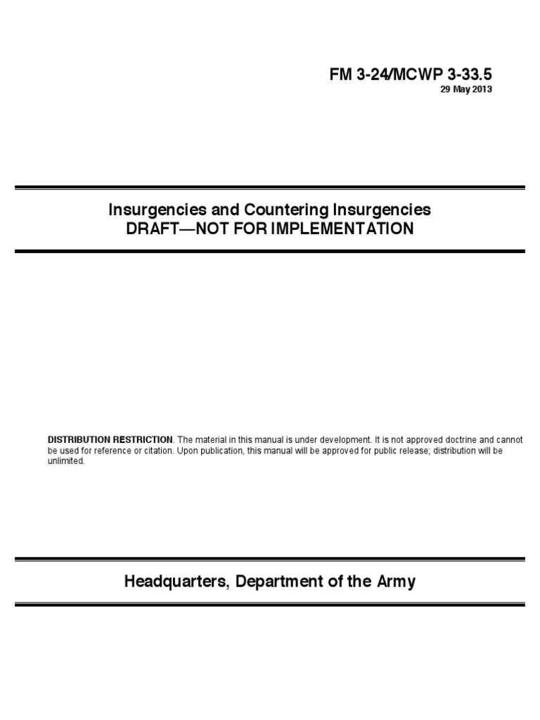 FM 3 24 MCWP 3 33 5 Insurgencies And Countering Insurgencies DRAFT