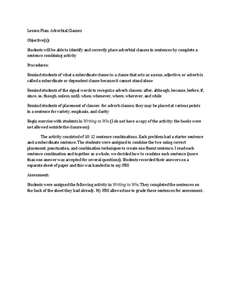 Adverbial Clause Lesson Plan   Adverb   Communication [ 1024 x 768 Pixel ]