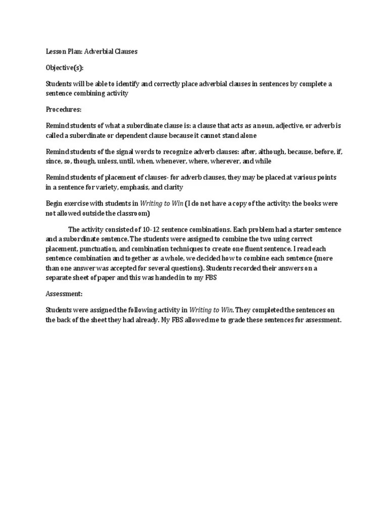 small resolution of Adverbial Clause Lesson Plan   Adverb   Communication