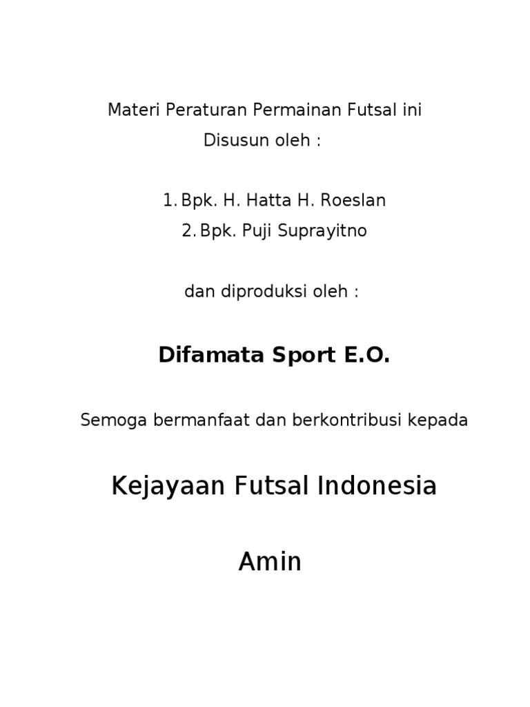 Peraturan Permainan Futsal : peraturan, permainan, futsal, Peraturan, Permainan, Futsal, Untuk, Dicetak