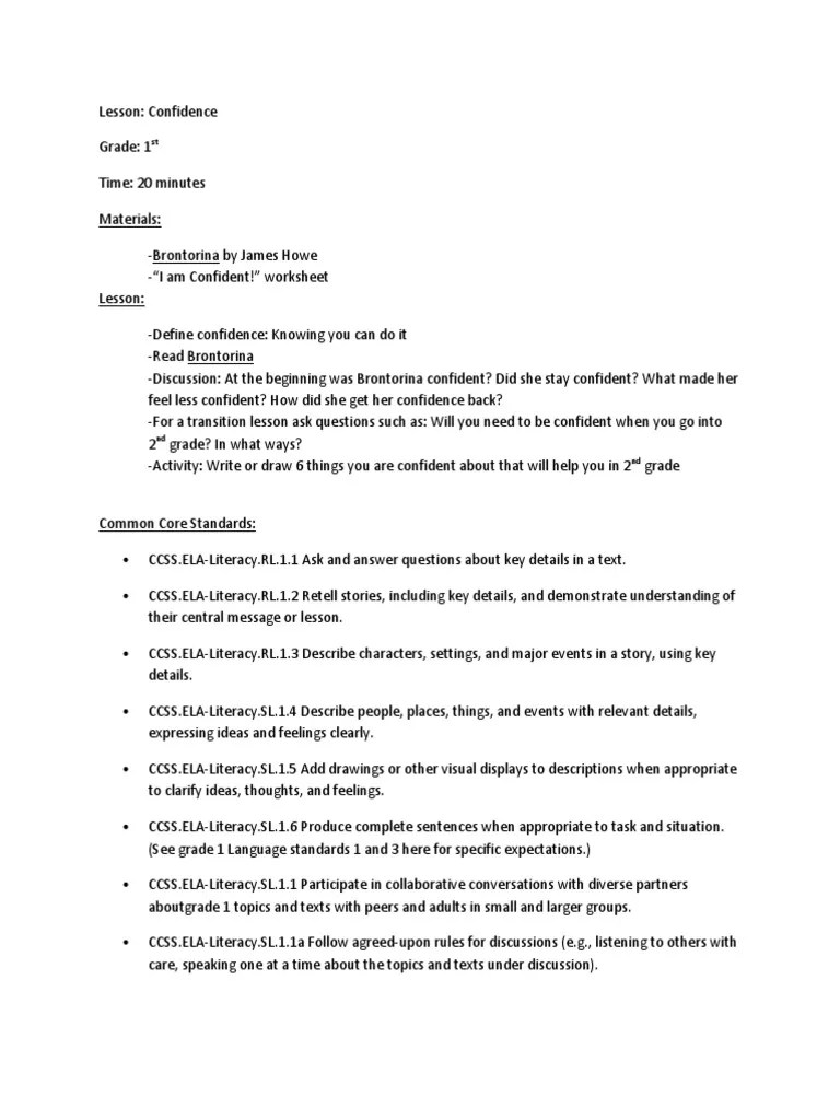 hight resolution of 1st grade confidence lesson   Conversation   Attitude (Psychology)