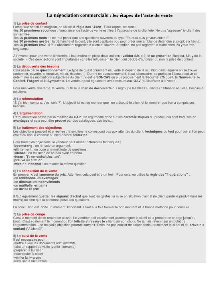 Argumentation Et Traitement Des Objections : argumentation, traitement, objections, Négociation, Commerciale.docx, Sodles, Affaires