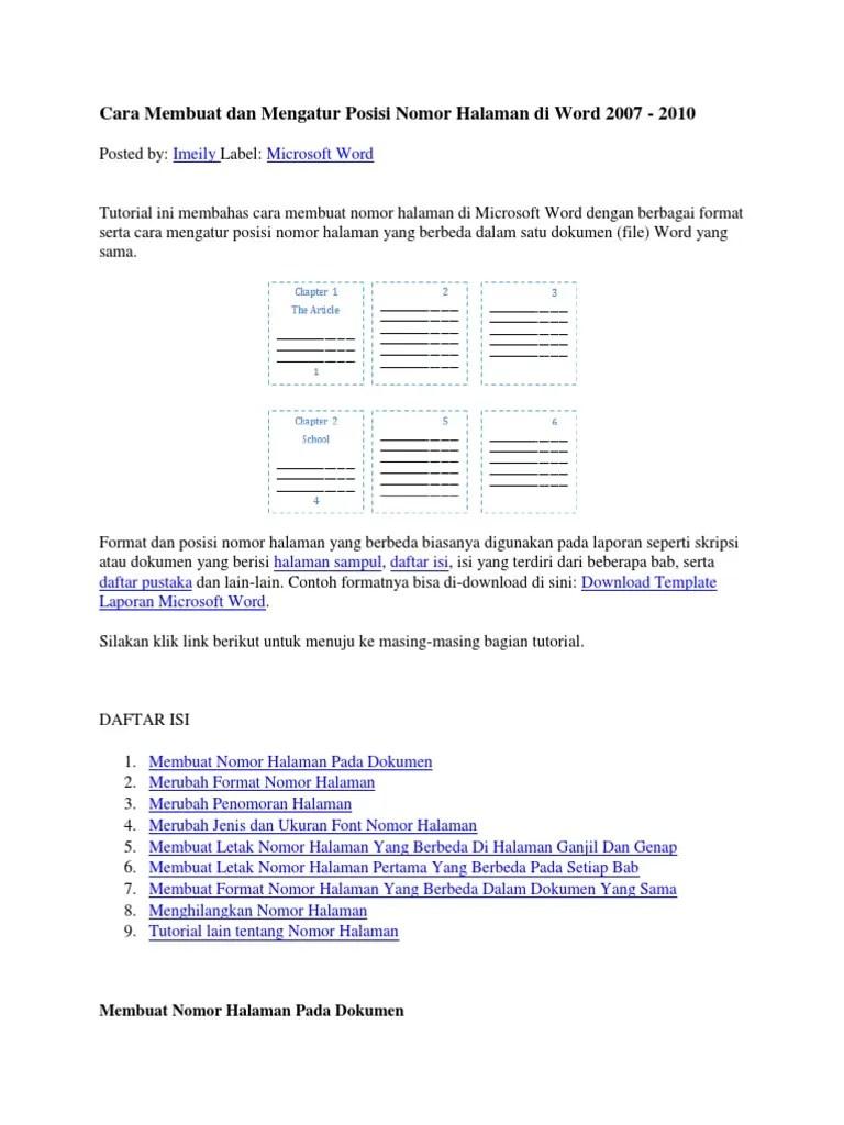 Cara membuat Page Number berbeda pada Dokumen Word