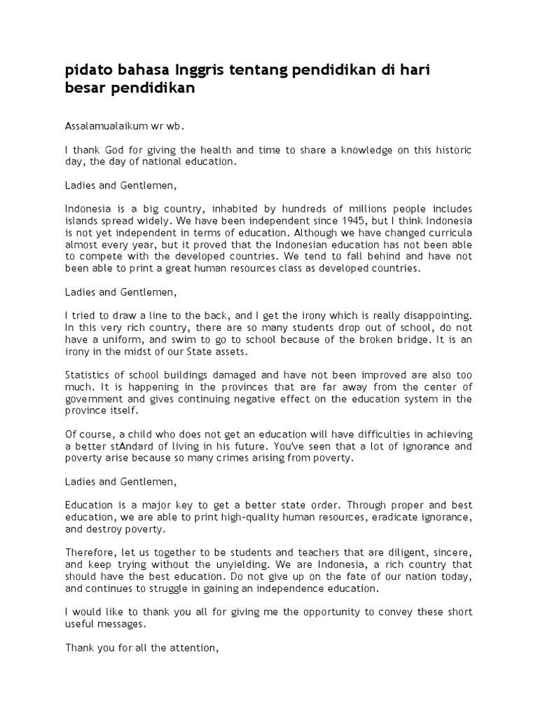 Pidato Bahasa Inggris Singkat Tentang Pendidikan : pidato, bahasa, inggris, singkat, tentang, pendidikan, Pidato, Bahasa, Inggris, Tentang, Pendidikan, Besar, Pendidikan.docx