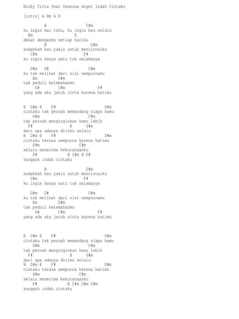 Sungguh Indah Chord : sungguh, indah, chord, Lirik, Chord, Nicky, Tirta, Vanessa, Angel, Indah, Cintaku