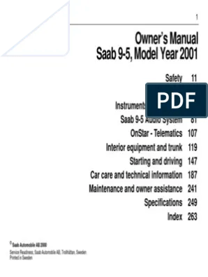 2001 Saab 9 5 Owners Manual
