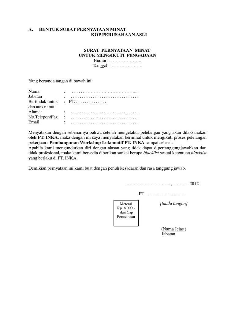 Surat Minat Pekerjaan : surat, minat, pekerjaan, Contoh, Surat, Minat