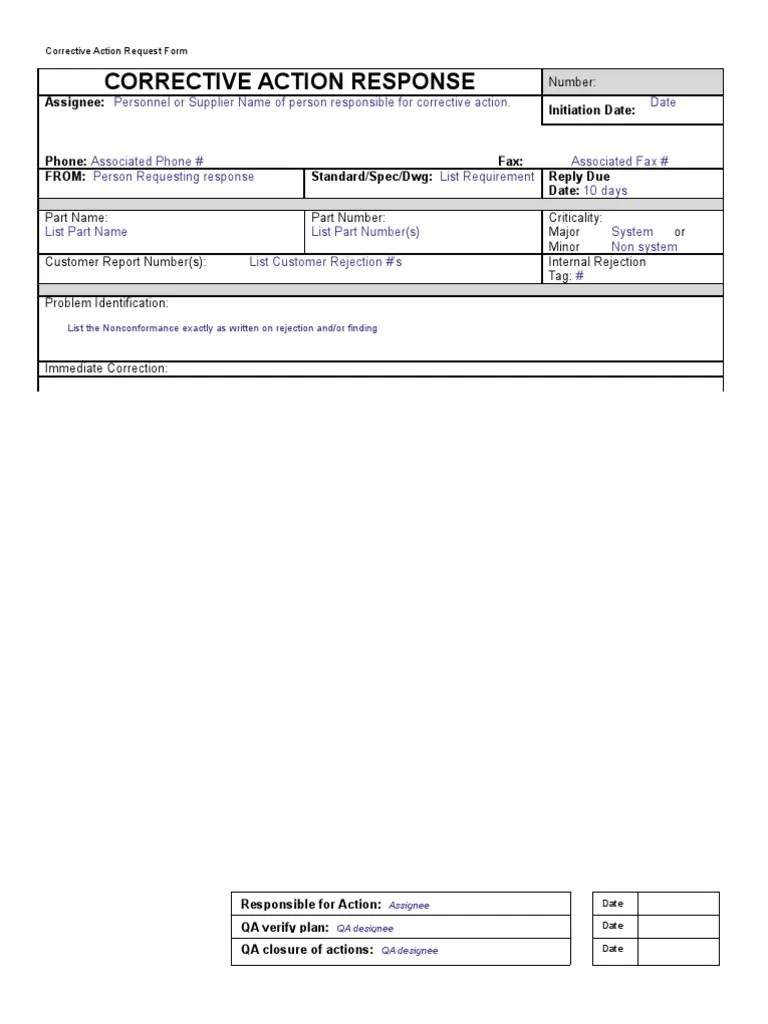 Corrective Action Response Form With Instructions Production And  Manufacturing Business
