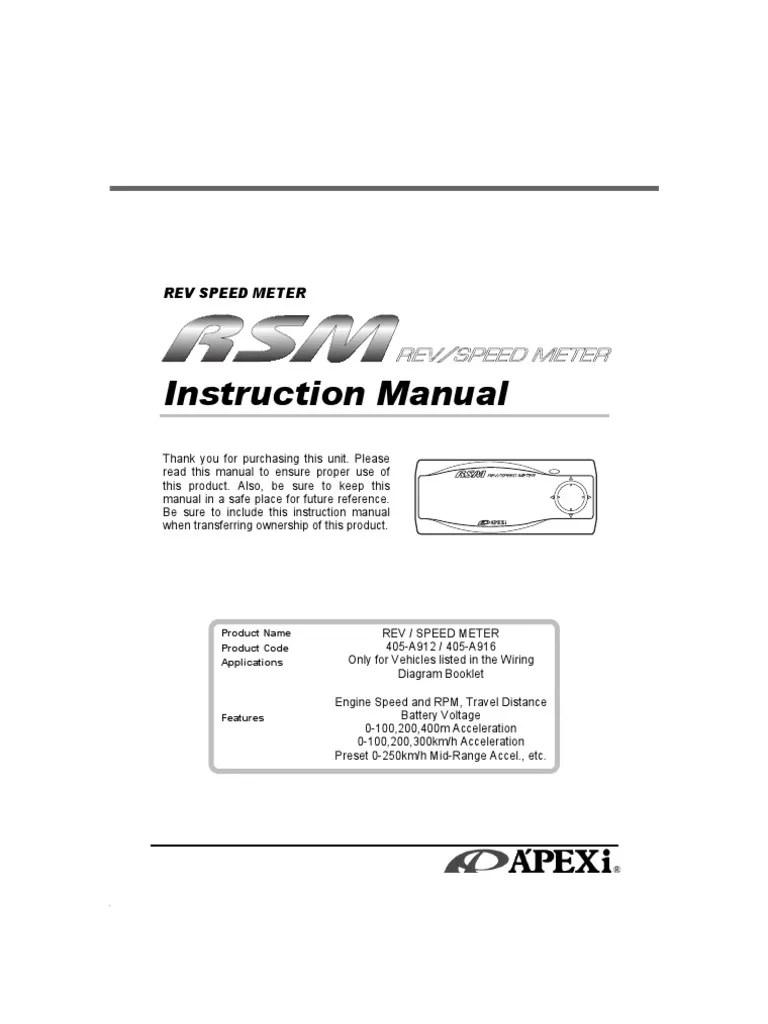 apexi rsm wiring diagram 2003 lincoln navigator engine rev speed meter manual