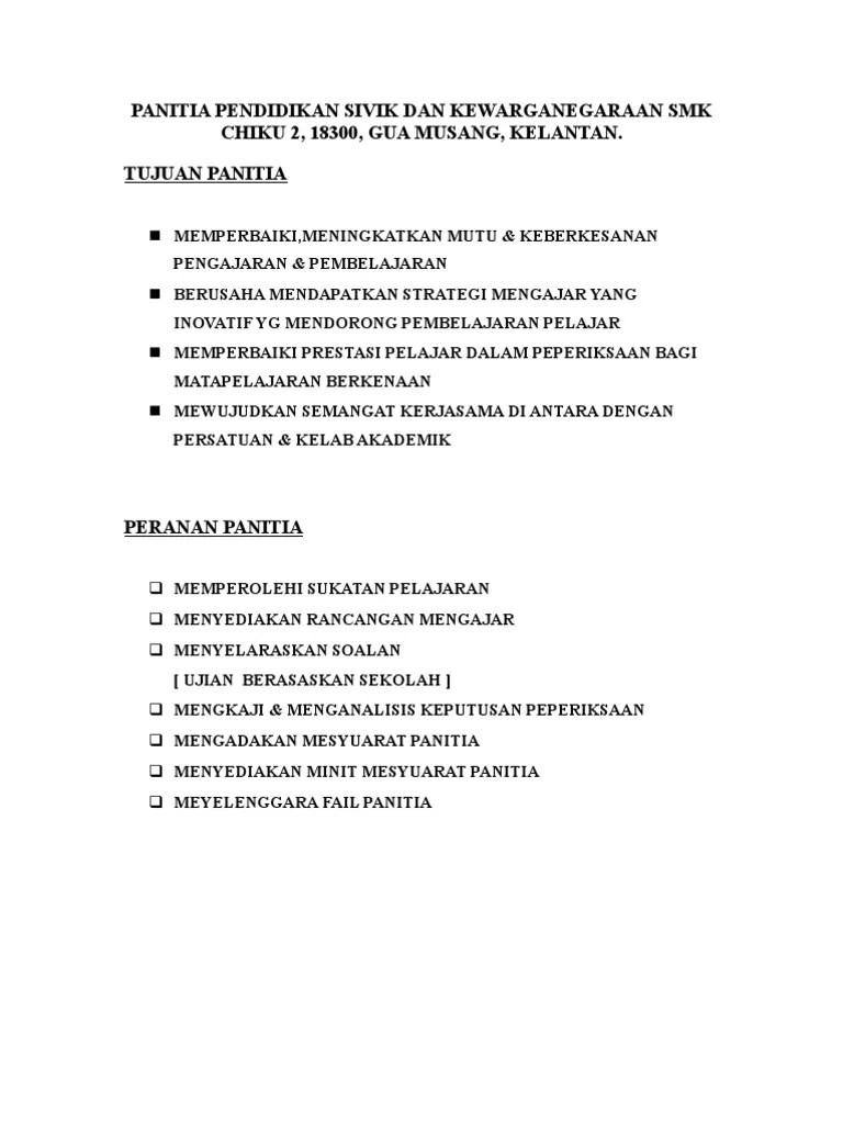 Tugas Ketua Panitia : tugas, ketua, panitia, Senarai, Tugas, Ketua, Panitia