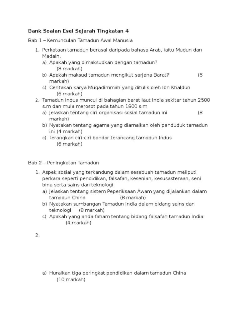 Cara Menulis Soalan Esei Sejarah Terengganu N Cute766
