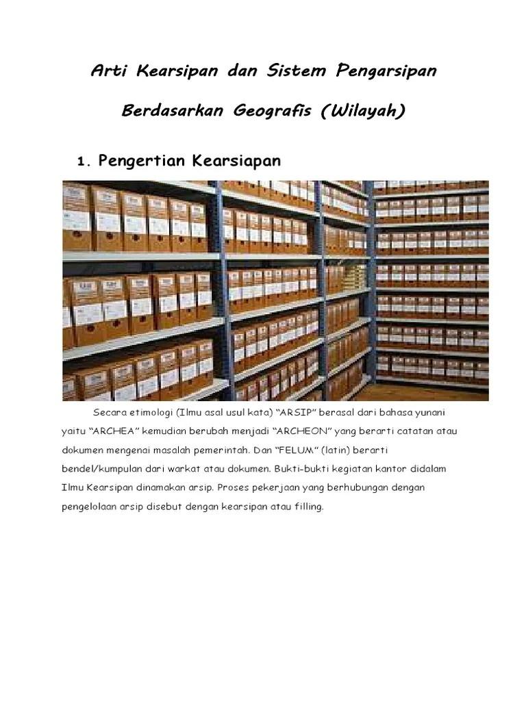 Penyimpanan Arsip Sistem Wilayah : penyimpanan, arsip, sistem, wilayah, Kearsipan, Sistem, Pengarsipan, Geografis