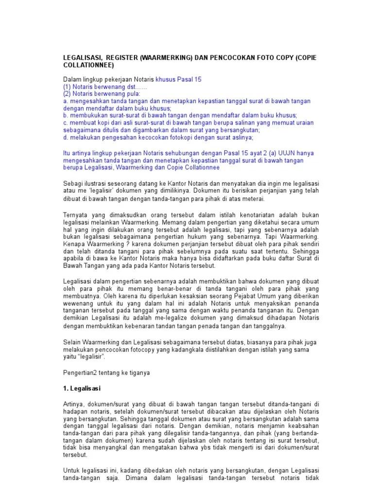 Contoh Waarmerking Notaris : contoh, waarmerking, notaris, Contoh, Surat, Perjanjian, Dengan, Waarmerking