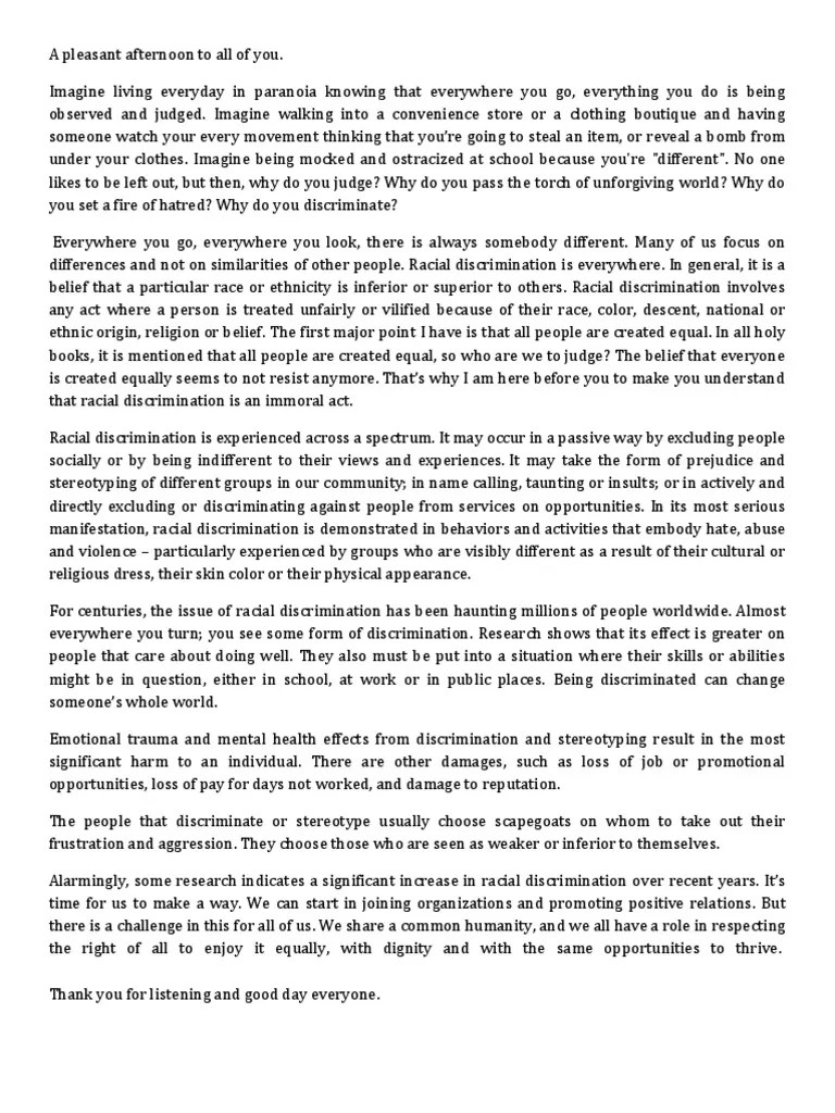 Dignity Essay Essay Racial Discrimination Racism Essay Introduction
