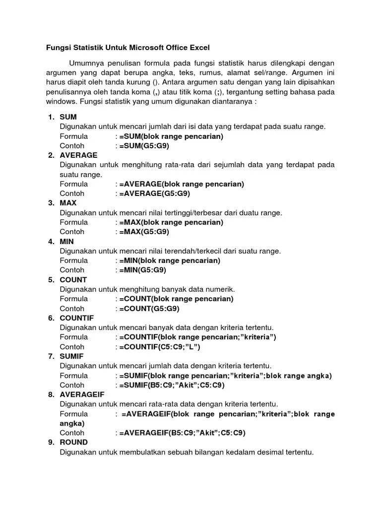Rumus Fungsi Statistik : rumus, fungsi, statistik, Fungsi, Statistik, Untuk, Microsoft, Office, Excel, Umumnya, Penulisan, Formula, Harus, Dilengkapi, Dengan