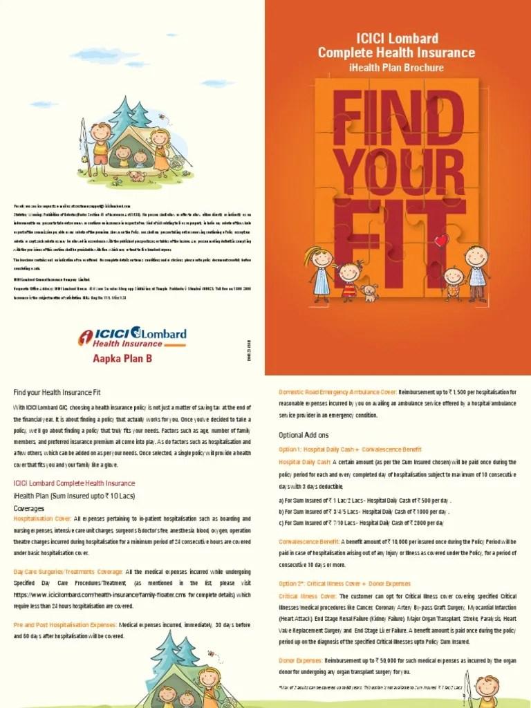 Icici Lombard Complete Health Insurance: Ihealth Plan Brochure