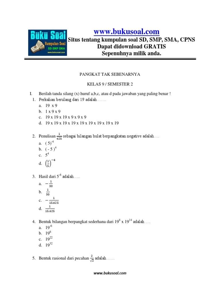 Kumpulan Soal Pangkat Dan Akar Kelas 9 Smp Doc : kumpulan, pangkat, kelas, Latihan, Matematika, Pangkat, Sebenarnya, Kelas