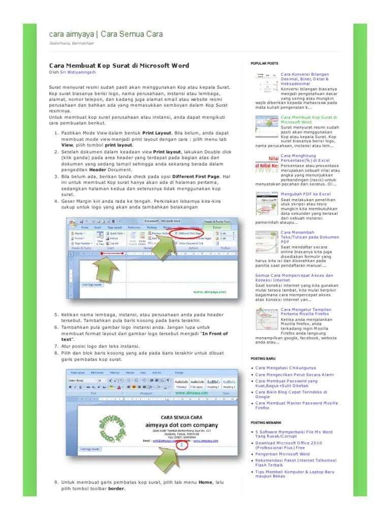 Cara Membuat Kop Surat di Microsoft Word - Sekitar-The-Rumah...