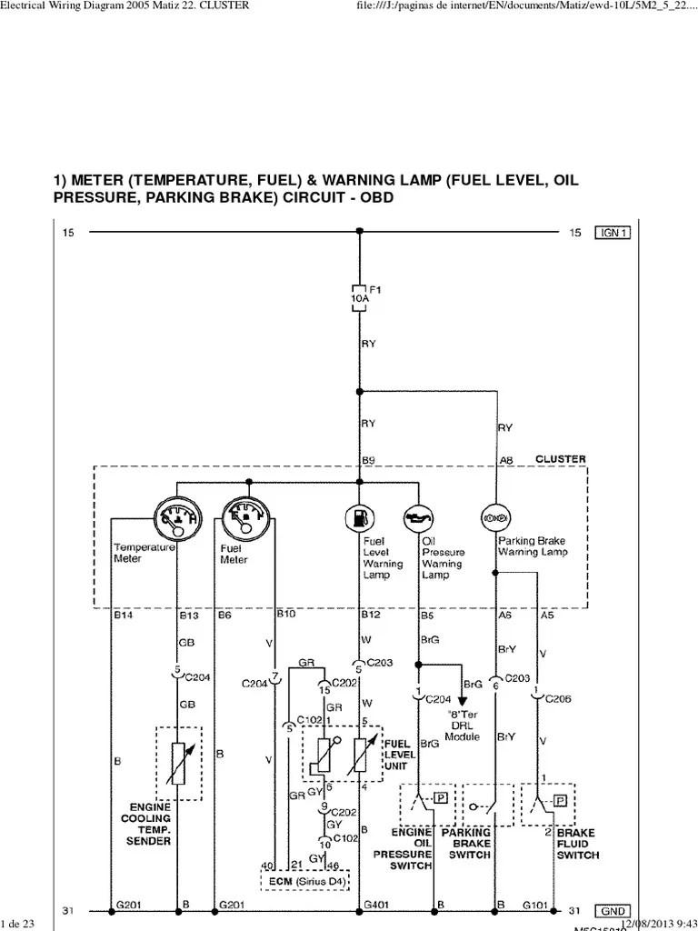 hight resolution of daewoo service manual instrument cluster matiz electrical daewoo matiz airbag wiring diagram