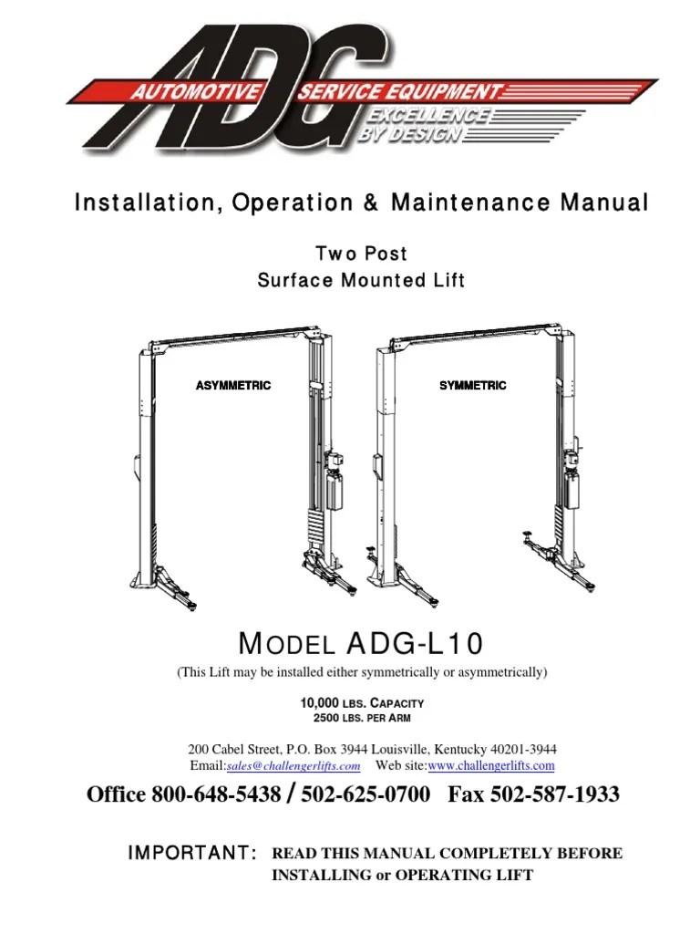 Vbm Challenger Lift Wiring Diagram - two column automotive ... on