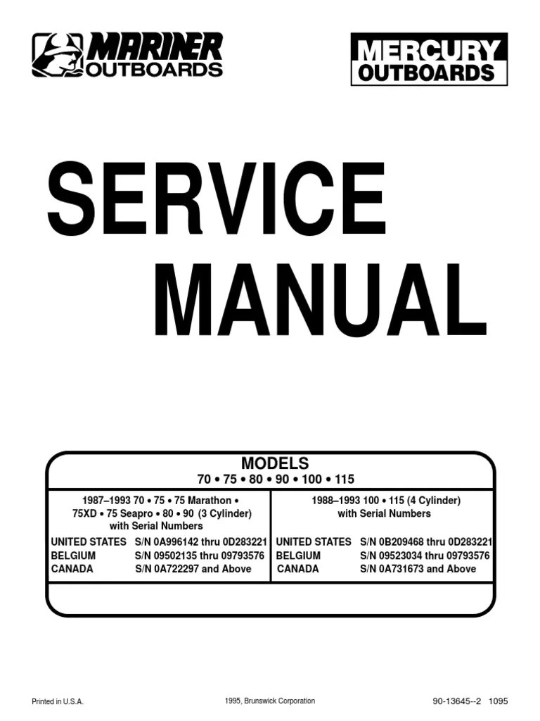 Outboard Manual 70758090100115 | Ignition System
